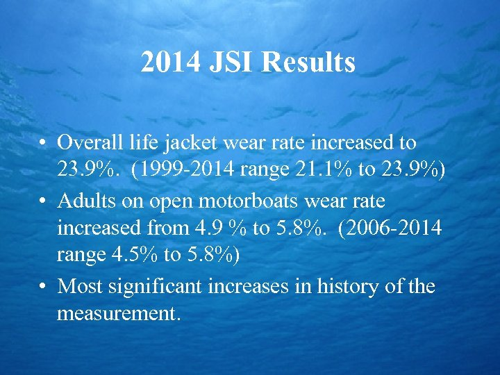 2014 JSI Results • Overall life jacket wear rate increased to 23. 9%. (1999