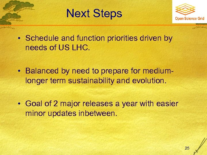 Next Steps • Schedule and function priorities driven by needs of US LHC. •