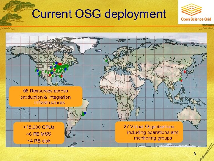 Current OSG deployment 96 Resources across production & integration infrastructures >15, 000 CPUs ~6