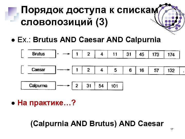 Порядок доступа к спискам словопозиций (3) Ex. : Brutus AND Caesar AND Calpurnia На