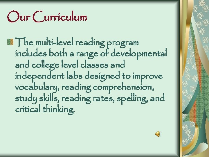 Our Curriculum The multi-level reading program includes both a range of developmental and college