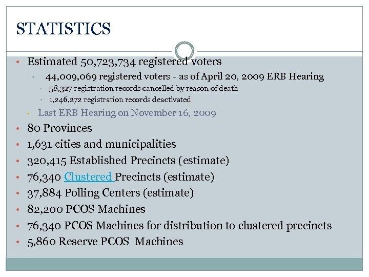 STATISTICS • Estimated 50, 723, 734 registered voters • 44, 009, 069 registered voters