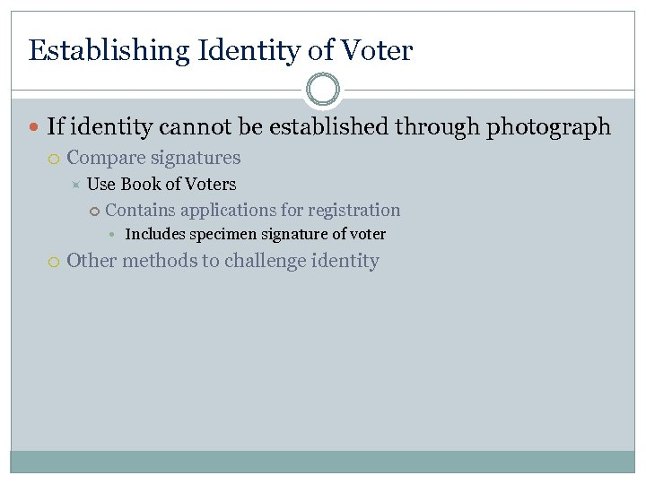 Establishing Identity of Voter If identity cannot be established through photograph Compare signatures Use