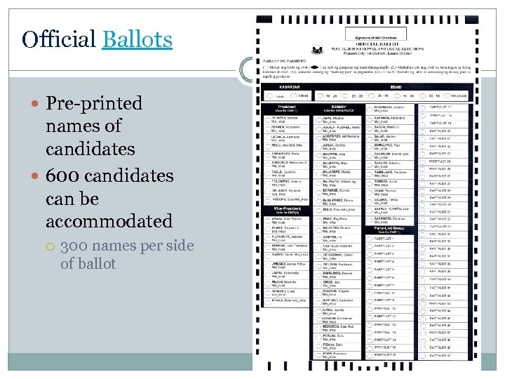 Official Ballots Pre-printed names of candidates 600 candidates can be accommodated 300 names per