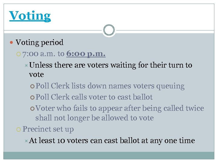 Voting period 7: 00 a. m. to 6: 00 p. m. Unless there are