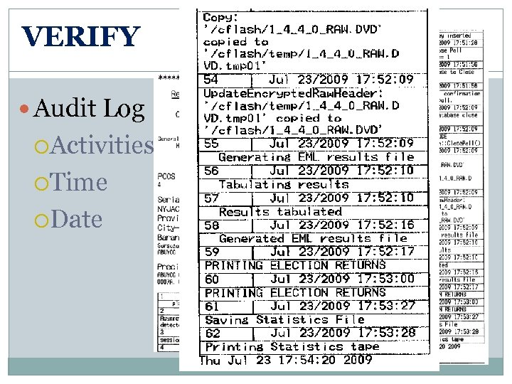 VERIFY Audit Log Activities Time Date