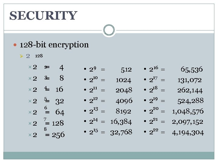 SECURITY 128 -bit encryption Ø 2 128 2 2 = 4 3 2 =