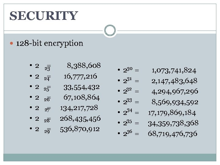 SECURITY 128 -bit encryption • • 2 = 8, 388, 608 23 2 =