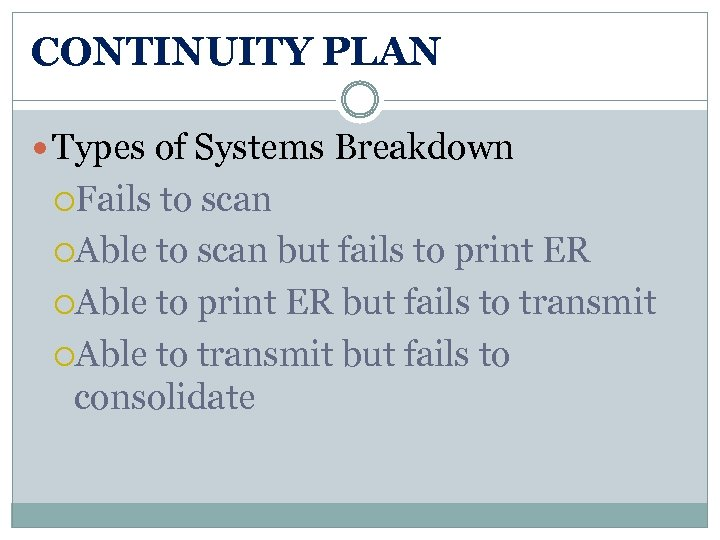 CONTINUITY PLAN Types of Systems Breakdown Fails to scan Able to scan but fails