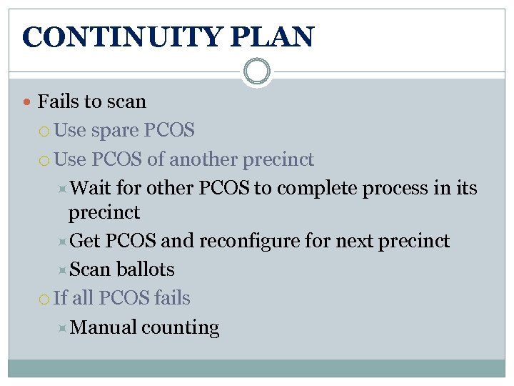 CONTINUITY PLAN Fails to scan Use spare PCOS Use PCOS of another precinct Wait