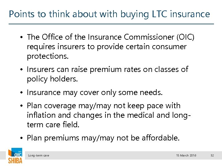 Points to think about with buying LTC insurance • The Office of the Insurance