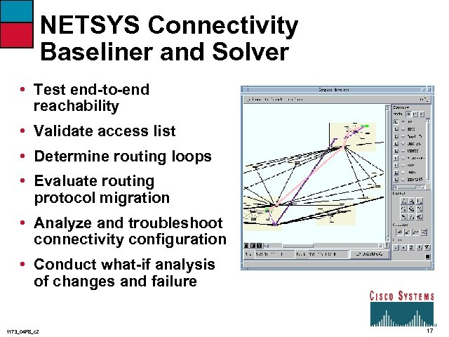 NETSYS Connectivity Baseliner and Solver • Test end-to-end reachability • Validate access list •