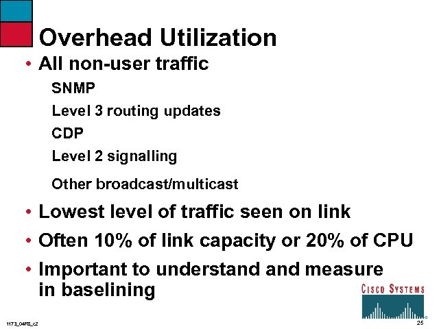 Overhead Utilization • All non-user traffic SNMP Level 3 routing updates CDP Level 2