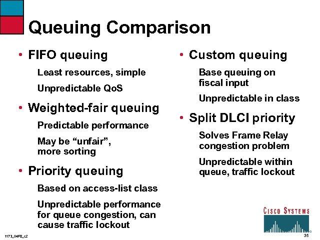 Queuing Comparison • FIFO queuing Least resources, simple Unpredictable Qo. S • Weighted-fair queuing