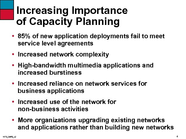 Increasing Importance of Capacity Planning • 85% of new application deployments fail to meet