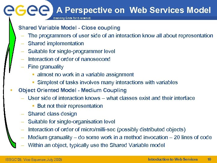 A Perspective on Web Services Model Enabling Grids for E-scienc. E • • Shared