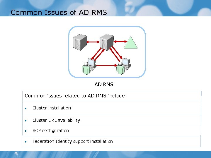 Common Issues of AD RMS Common issues related to AD RMS include: Cluster installation