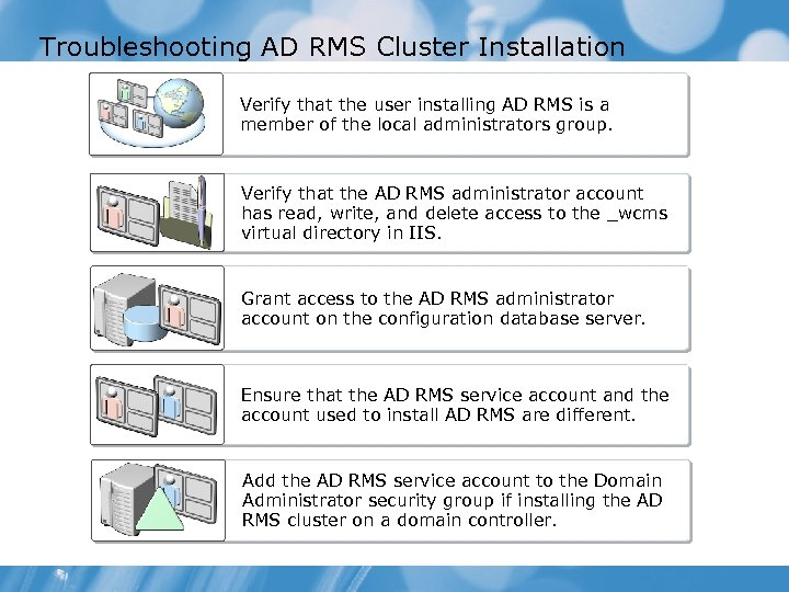 Troubleshooting AD RMS Cluster Installation Verify that the user installing AD RMS is a
