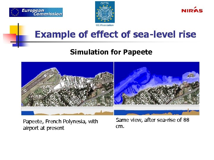 Example of effect of sea-level rise Simulation for Papeete, French Polynesia, with airport at