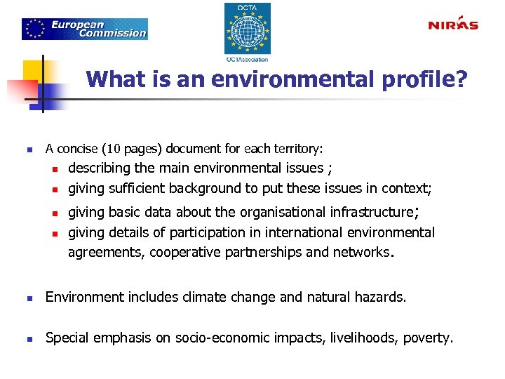 What is an environmental profile? n A concise (10 pages) document for each territory: