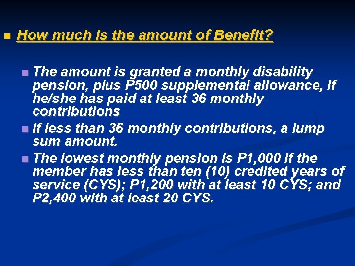 How much is the amount of Benefit? The amount is granted a monthly