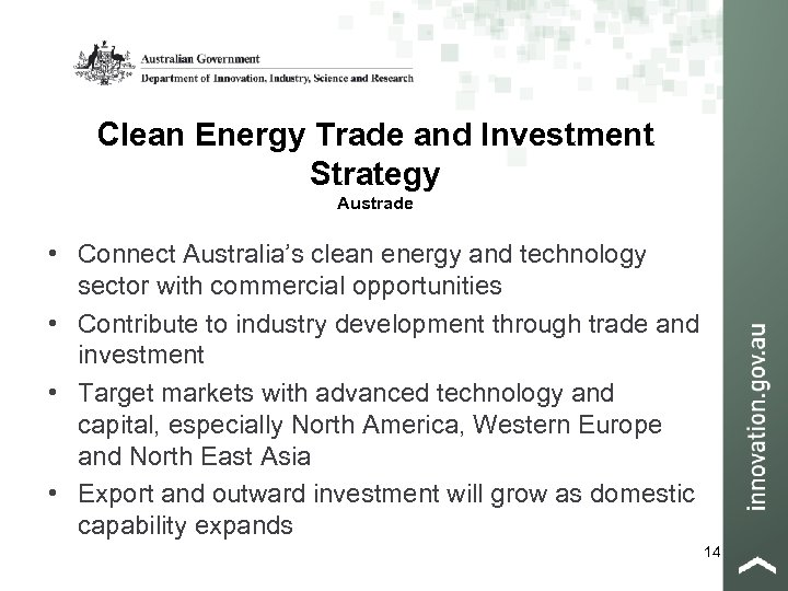 Clean Energy Trade and Investment Strategy Austrade • Connect Australia's clean energy and technology