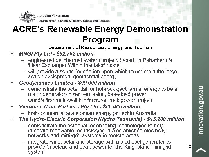 ACRE's Renewable Energy Demonstration Program Department of Resources, Energy and Tourism • • MNGI