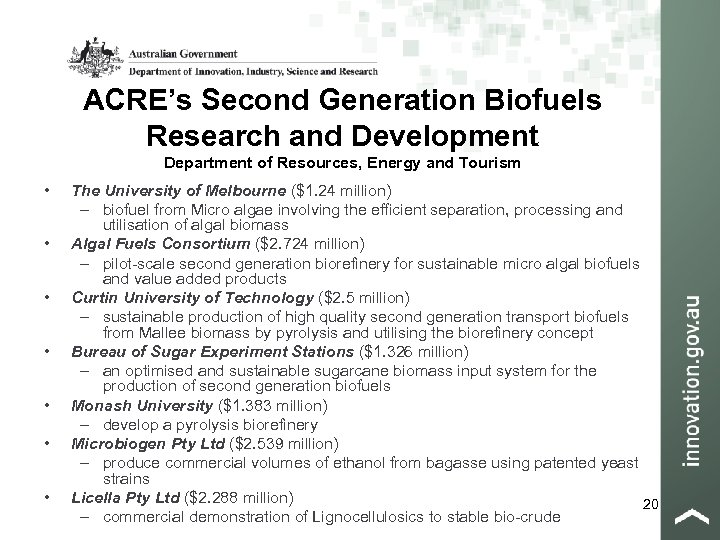 ACRE's Second Generation Biofuels Research and Development Department of Resources, Energy and Tourism •