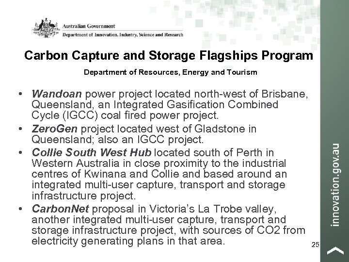 Carbon Capture and Storage Flagships Program Department of Resources, Energy and Tourism • Wandoan