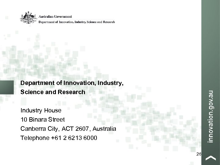 Department of Innovation, Industry, Science and Research Industry House 10 Binara Street Canberra City,