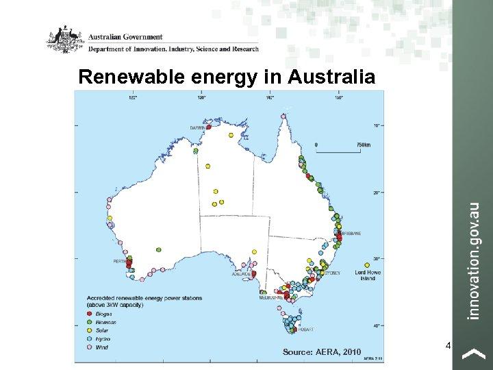 Renewable energy in Australia Source: AERA, 2010 4