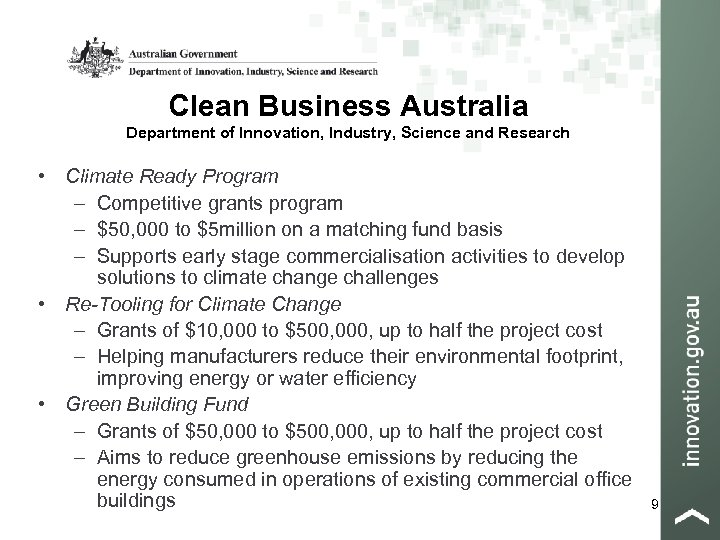 Clean Business Australia Department of Innovation, Industry, Science and Research • Climate Ready Program