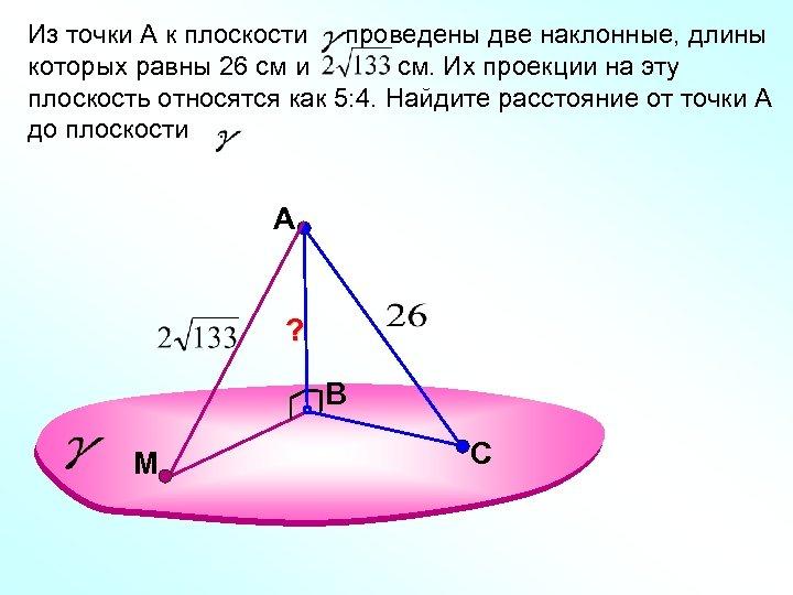 Из точки А к плоскости проведены две наклонные, длины которых равны 26 см и