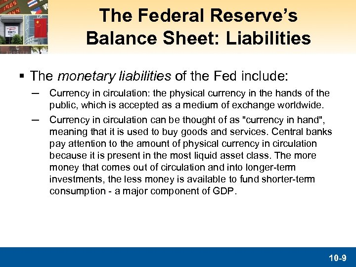 The Federal Reserve's Balance Sheet: Liabilities § The monetary liabilities of the Fed include: