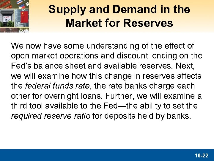 Supply and Demand in the Market for Reserves We now have some understanding of