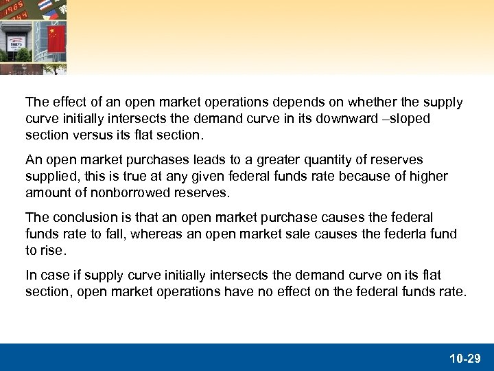 The effect of an open market operations depends on whether the supply curve initially