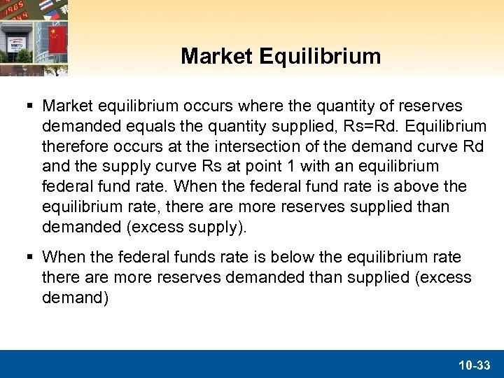 Market Equilibrium § Market equilibrium occurs where the quantity of reserves demanded equals the