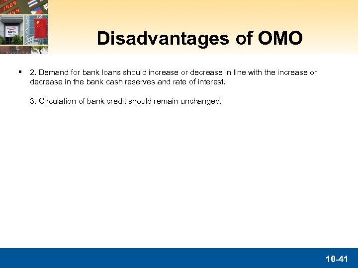 Disadvantages of OMO § 2. Demand for bank loans should increase or decrease in