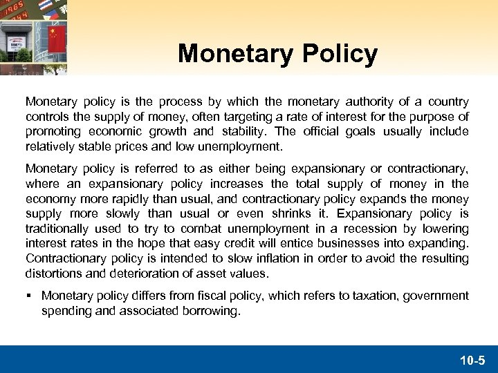 Monetary Policy Monetary policy is the process by which the monetary authority of a
