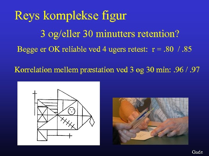 Reys komplekse figur 3 og/eller 30 minutters retention? Begge er OK reliable ved 4
