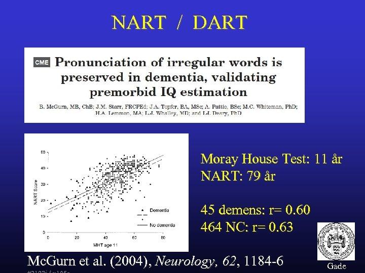 NART / DART Moray House Test: 11 år NART: 79 år 45 demens: r=