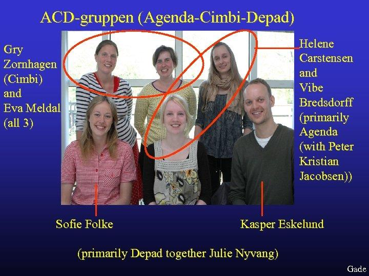 ACD-gruppen (Agenda-Cimbi-Depad) Helene Carstensen and Vibe Bredsdorff (primarily Agenda (with Peter Kristian Jacobsen)) Gry