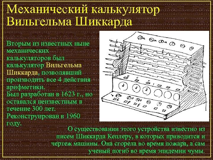 Механический калькулятор Вильгельма Шиккарда Вторым из известных ныне механических калькуляторов был калькулятор Вильгельма Шиккарда,