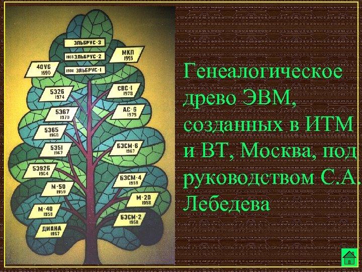 Генеалогическое древо ЭВМ, созданных в ИТМ и ВТ, Москва, под руководством С. А. Лебедева