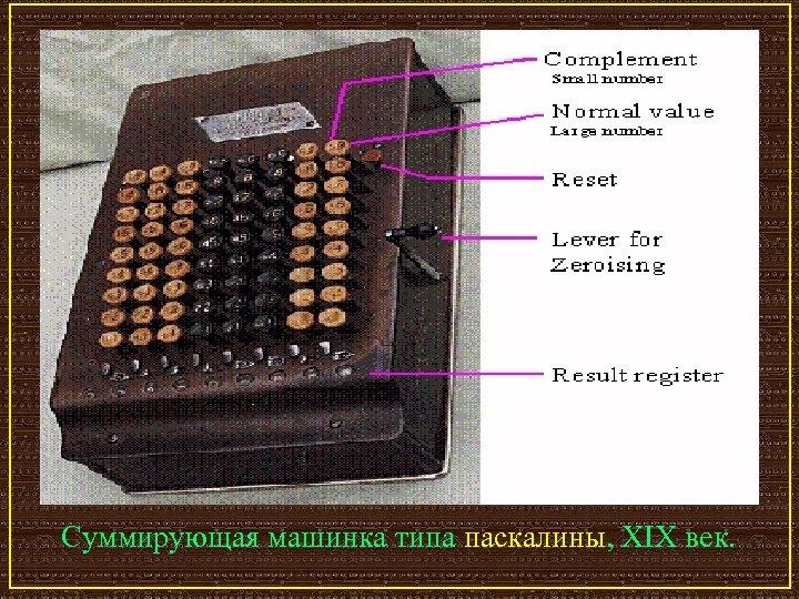 Суммирующая машинка типа паскалины, XIX век.