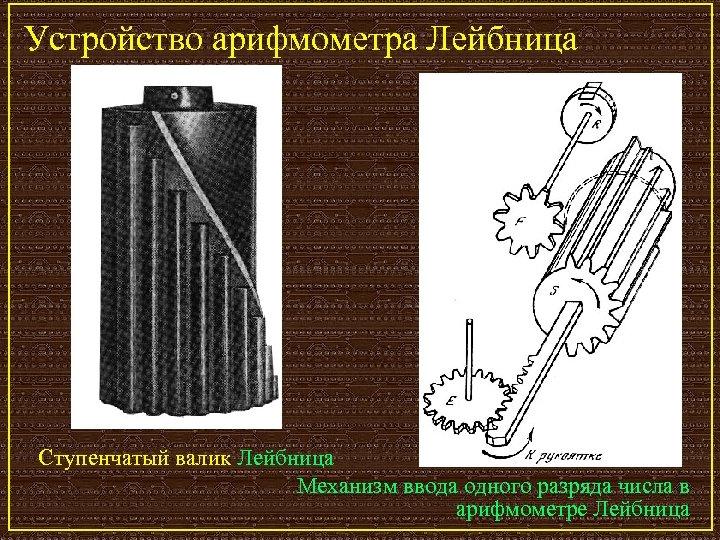 Устройство арифмометра Лейбница Ступенчатый валик Лейбница Механизм ввода одного разряда числа в арифмометре Лейбница