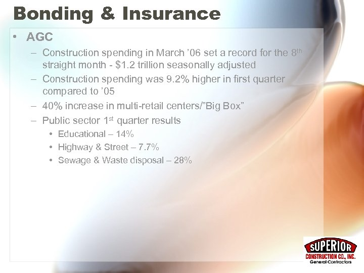 Bonding & Insurance • AGC – Construction spending in March ' 06 set a