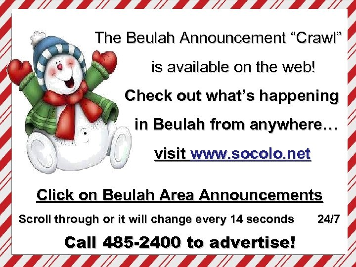 """The Beulah Announcement """"Crawl"""" is available on the web! Check out what's happening in"""