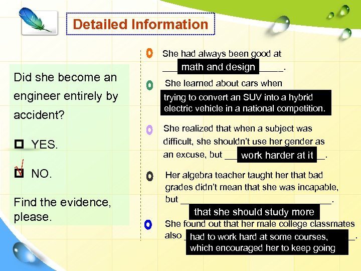 Detailed Information Did she become an engineer entirely by accident? p YES. √ p