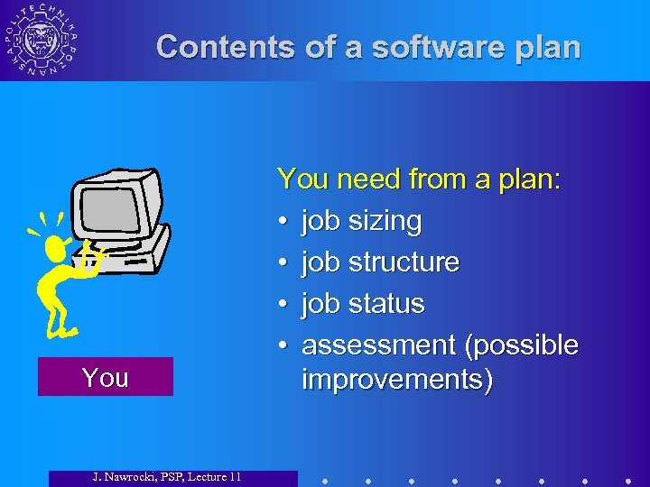 Contents of a software plan You J. Nawrocki, PSP, Lecture 11 You need from
